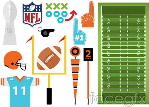 Elements of American football vector