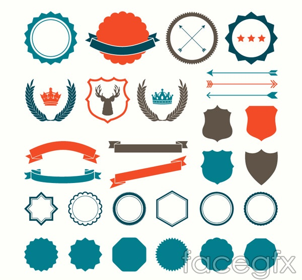 Blank labels and ribbons vector