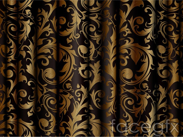 Gold patterned silk cloth vector