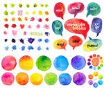 Colorful watercolor designs vector