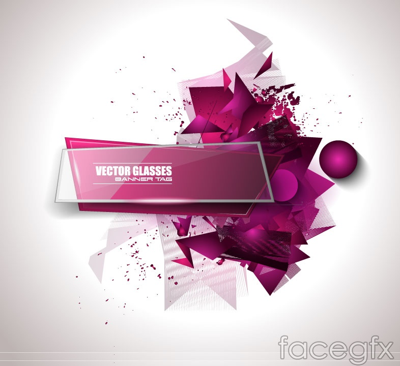 Stylish glass texture banner vector diagrams