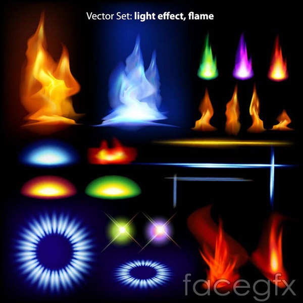 Flames game elements vector