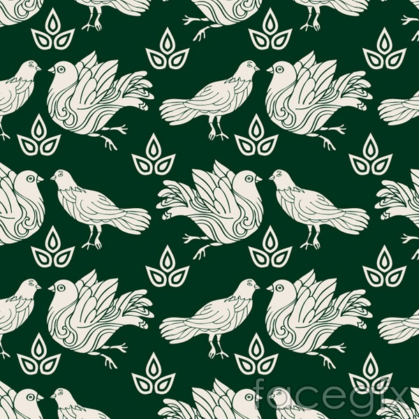 Hand-drawn Dove seamless background vector