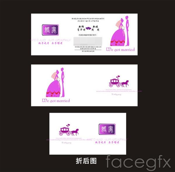 Stylish wedding invitations vector