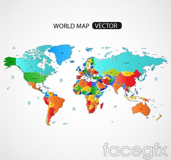 Color maps of the world vector