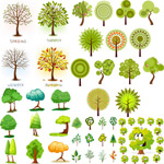 A variety of green trees vector
