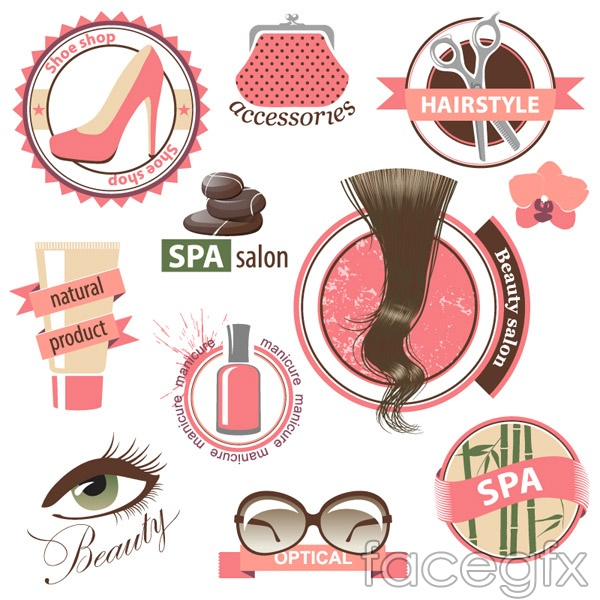 Female beauty elements vector