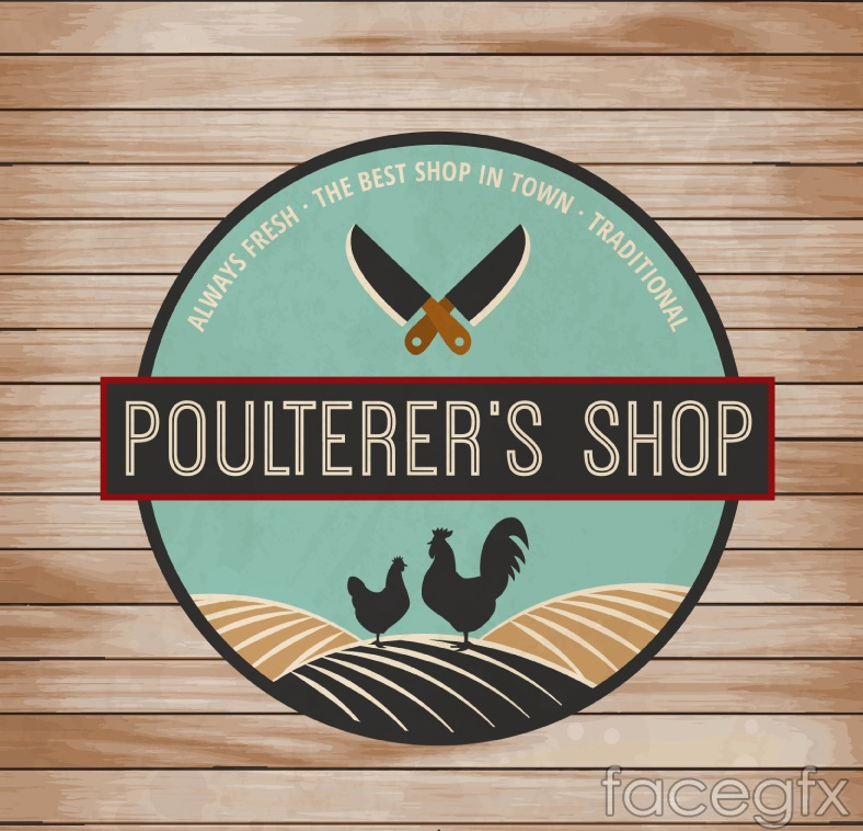 Fresh poultry store labels vector