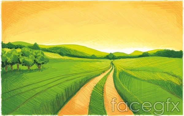 Hand-painted green fields vector