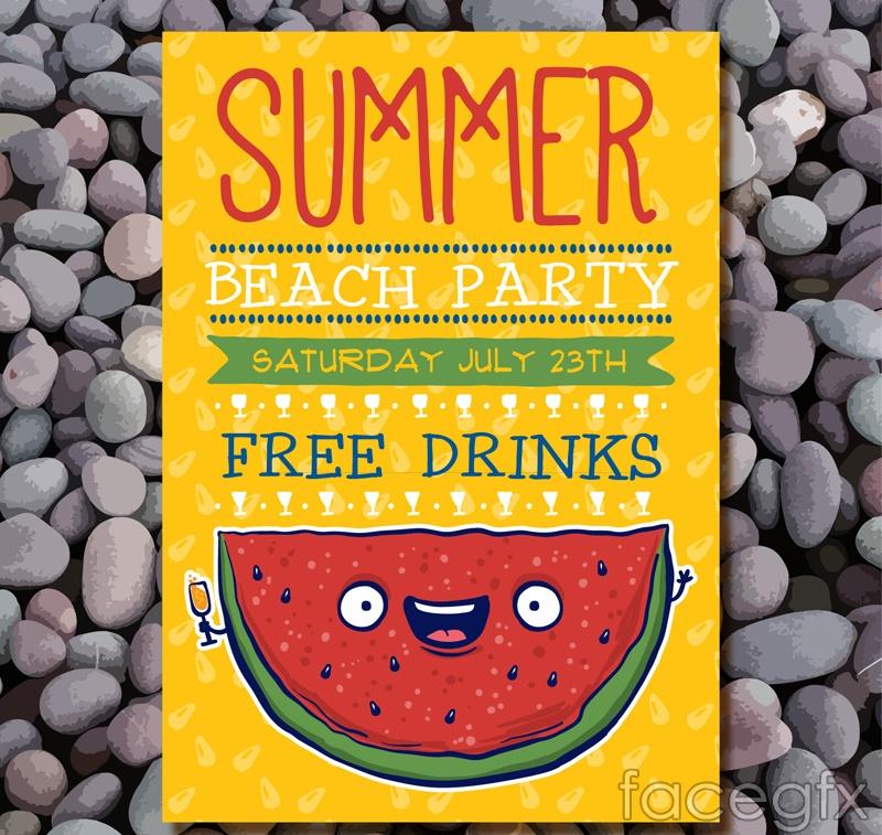 Children's summer beach party flyer vector graphics