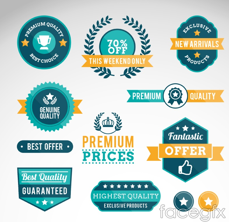 10 green high quality promotional labels vector