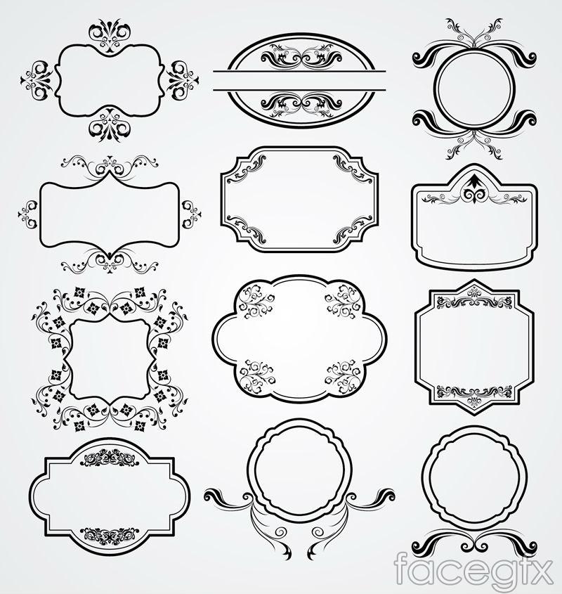 12 elegant black frame of the pattern vector
