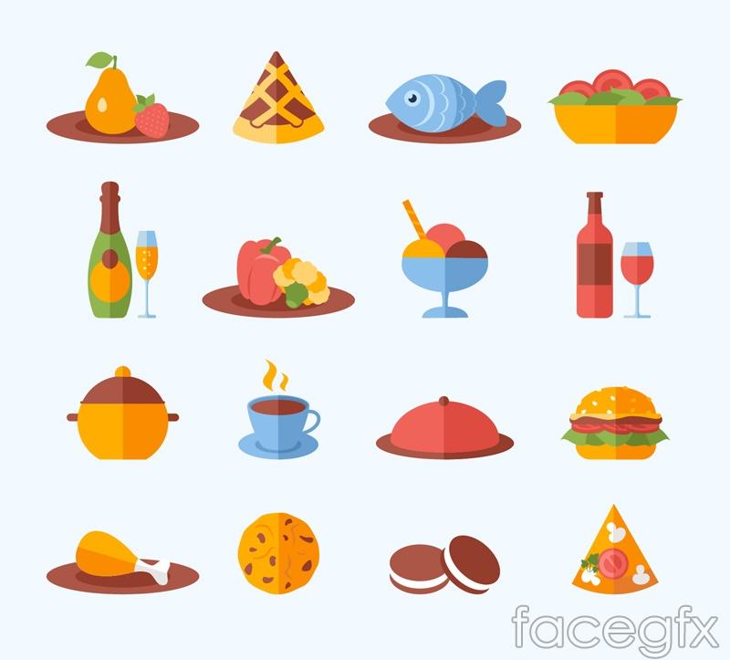 16 delicious food icon vector