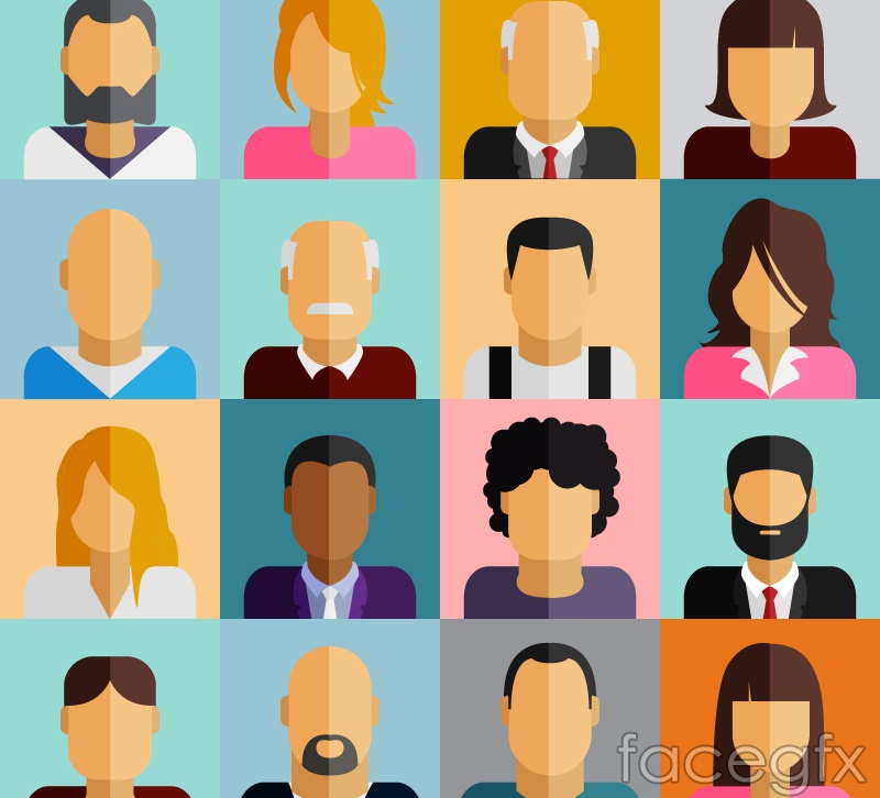 16 flat characters avatar vector illustration