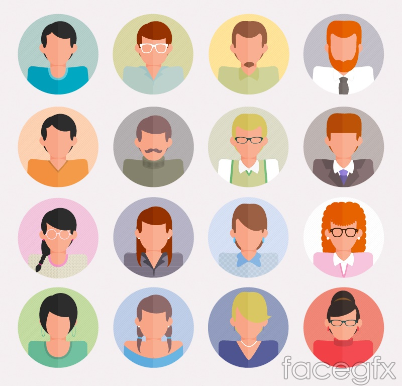 16 round-faced character avatar vector illustration