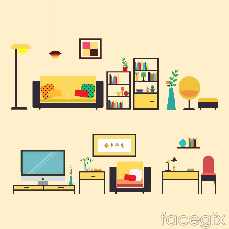 2 bedroom furniture design vector