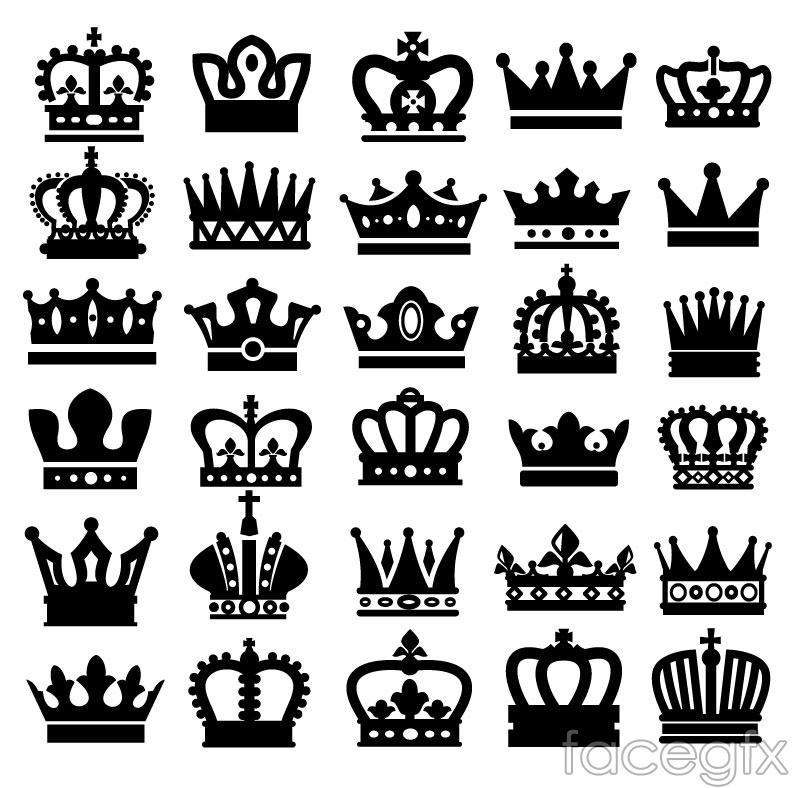 30 black Crown icon vector