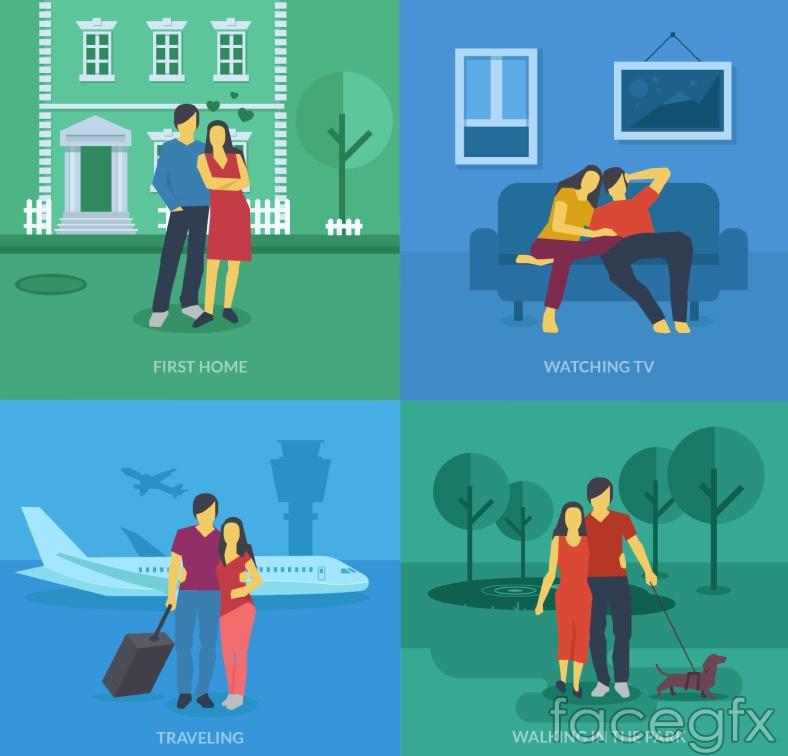 4 creative couple illustration vector