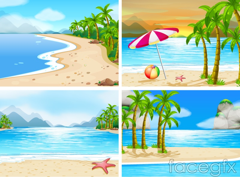4 summer beach landscape Illustrator vector