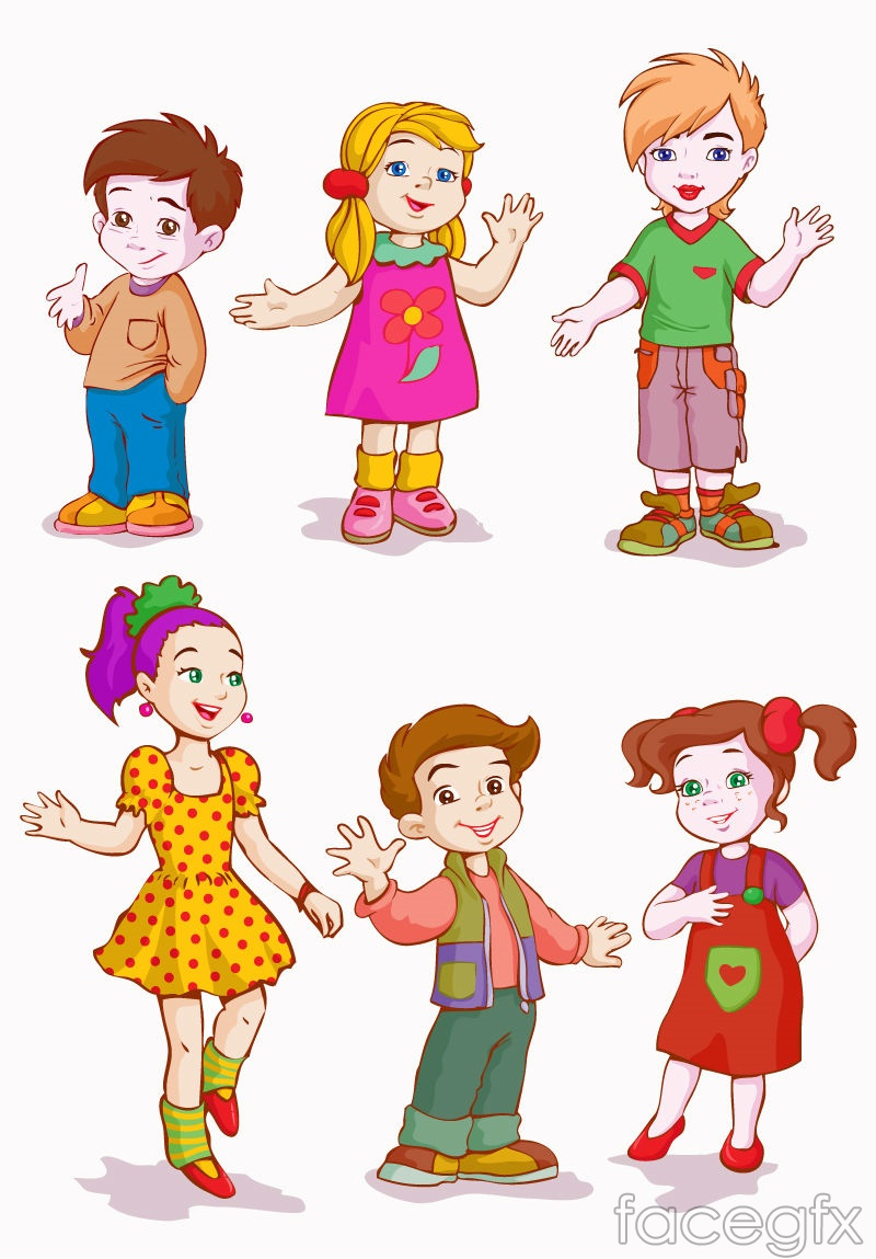 6 cartoon kids design vector