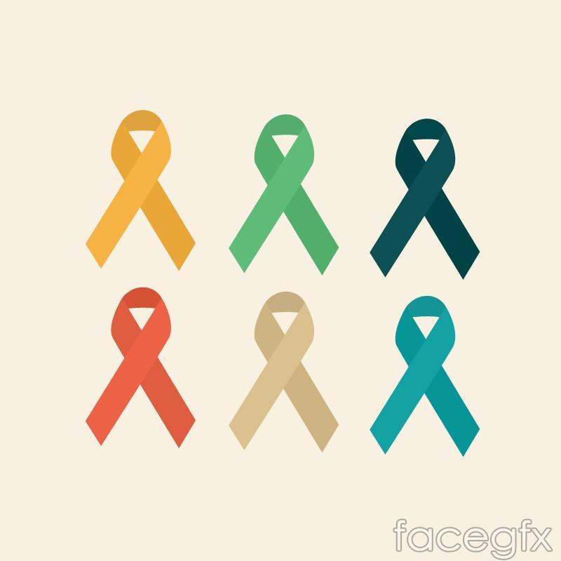 6 color AIDS ribbon logo design vector