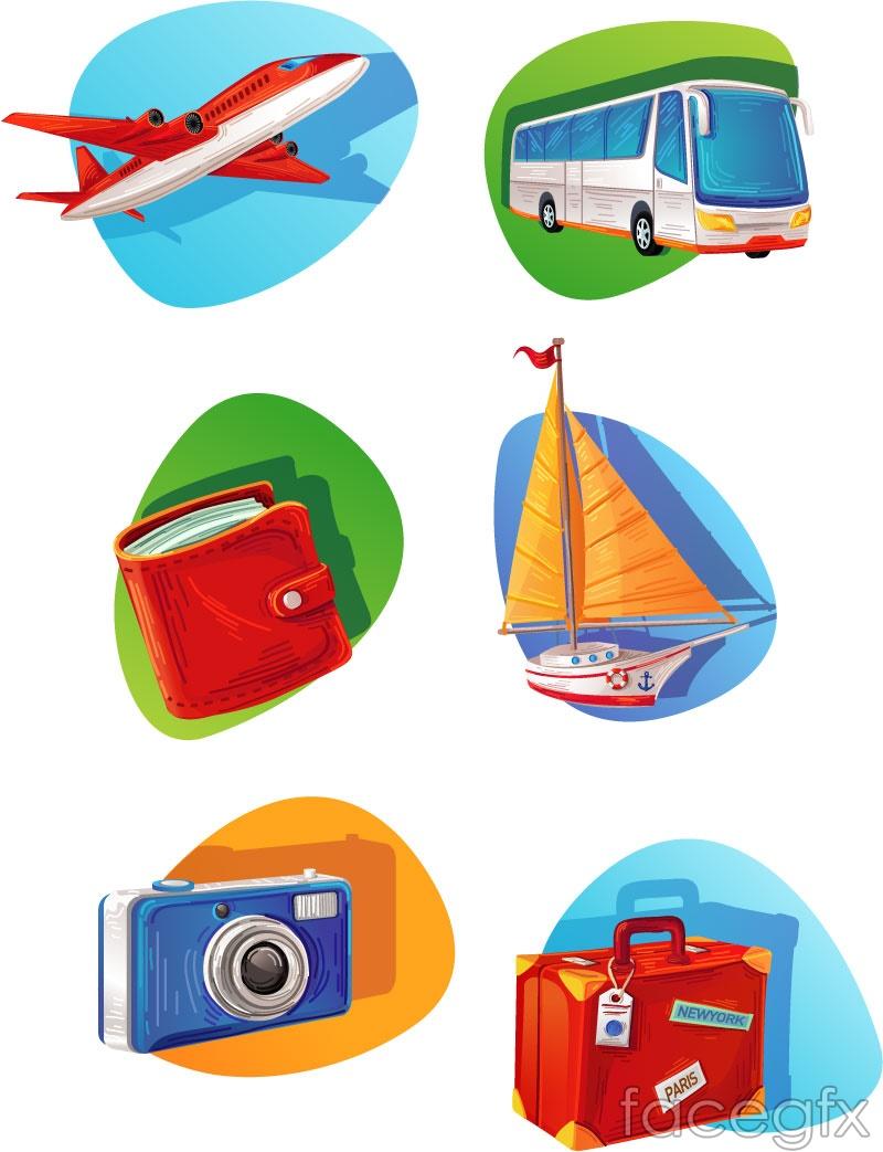 6 travel element icon vector