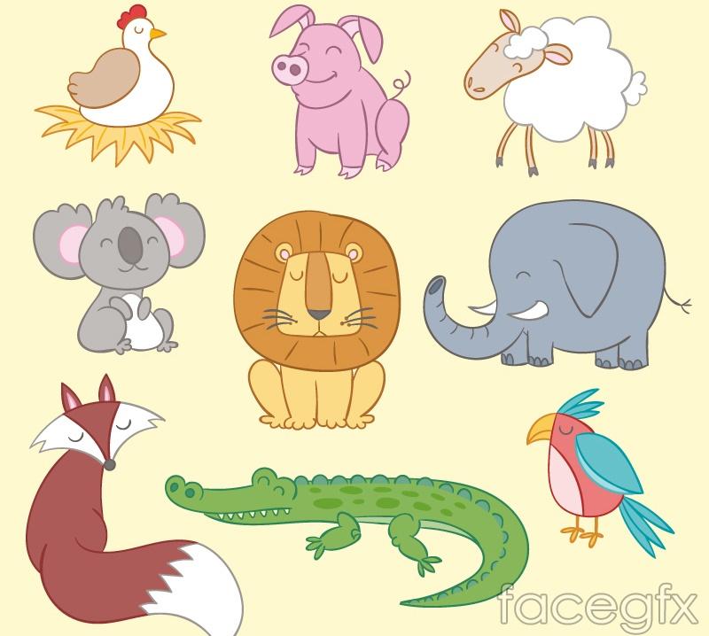 9 cartoon smiley animals vector