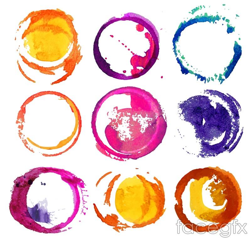 9 watercolors ring design vector