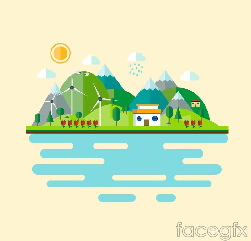 Cartoon landscape Illustrator vector diagrams