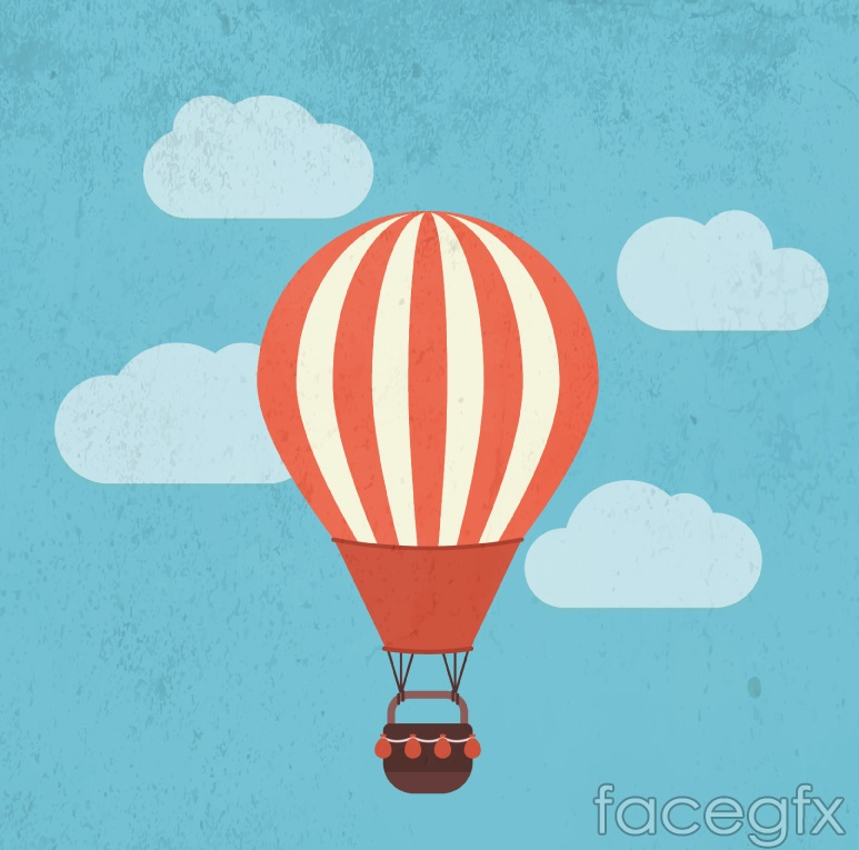 Cartoon striped hot air balloon vector