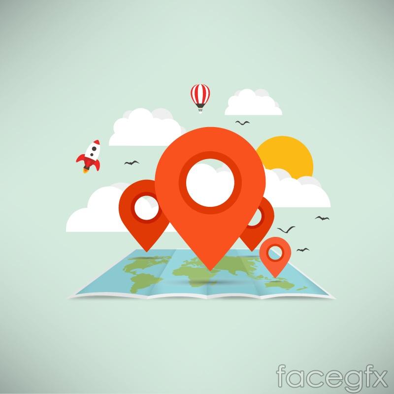 Creative map icon vector