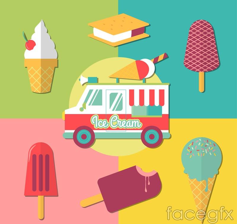 Delicious ice cream and ice cream truck clip art vector