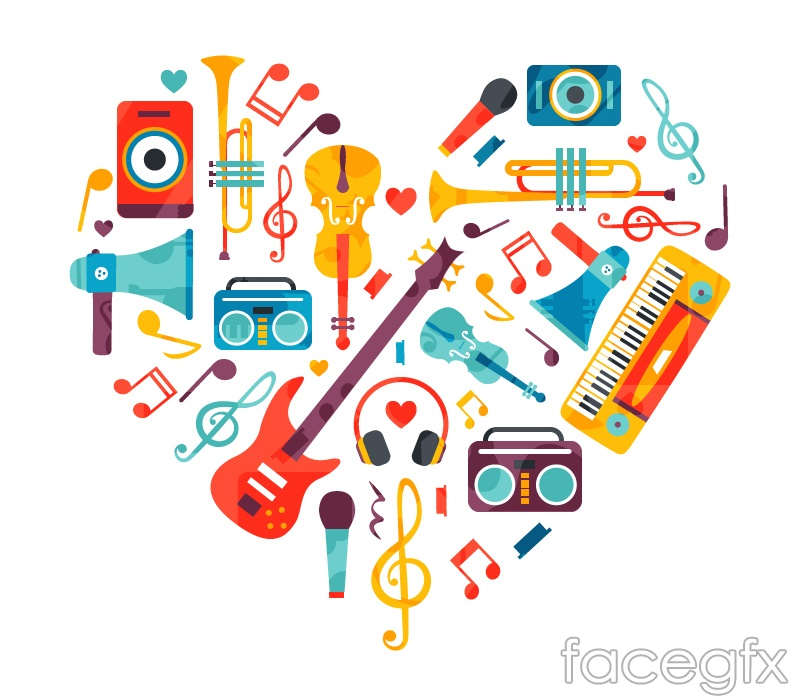Musical love vector