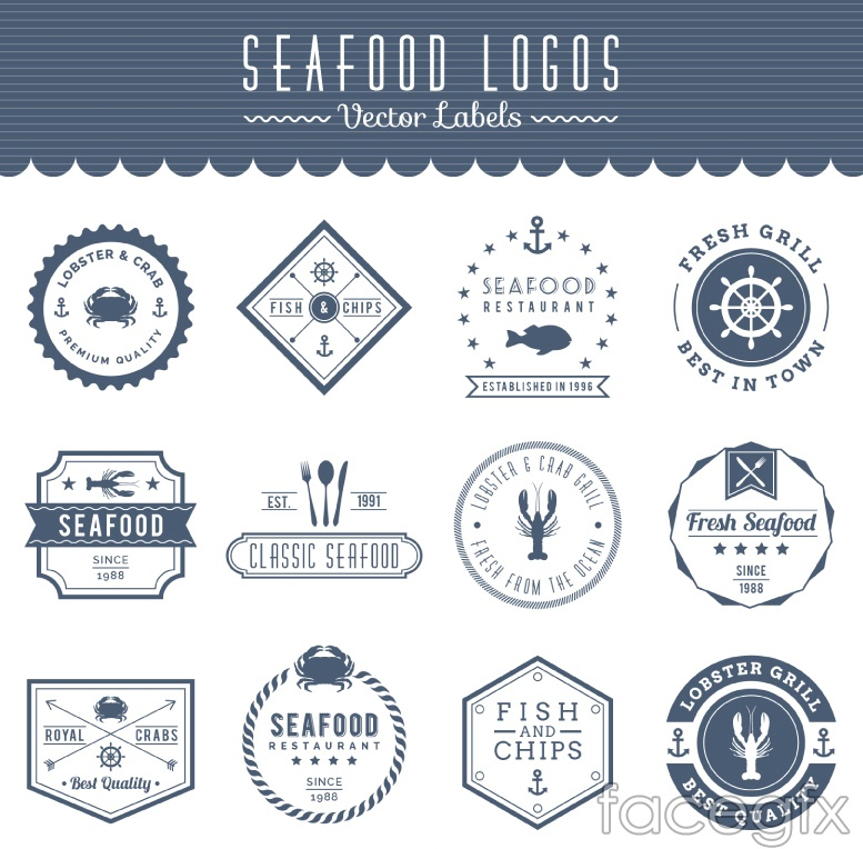 12 sea food seafood labels vector