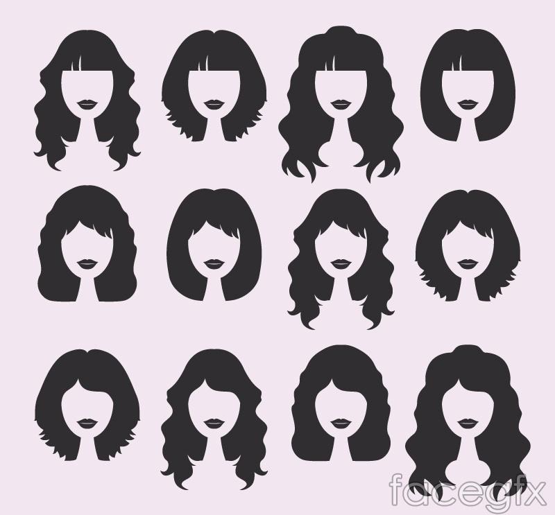 12 women's hair design vector