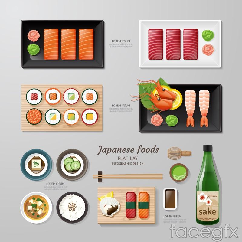 14 flat-Japan food vector graphics