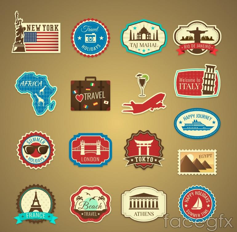 16 travel tag vector