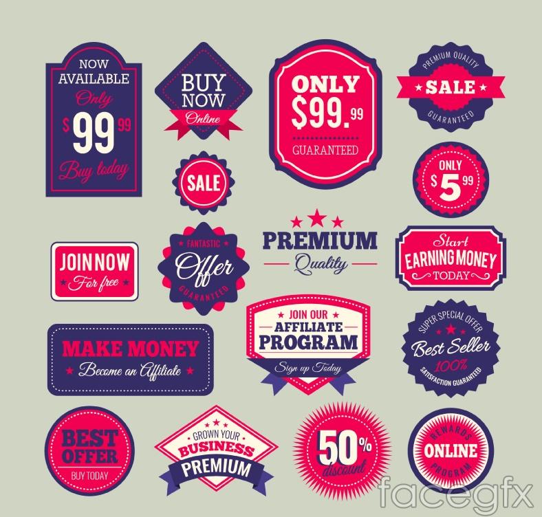 17 blue and red color scheme of exquisite sale label vectors