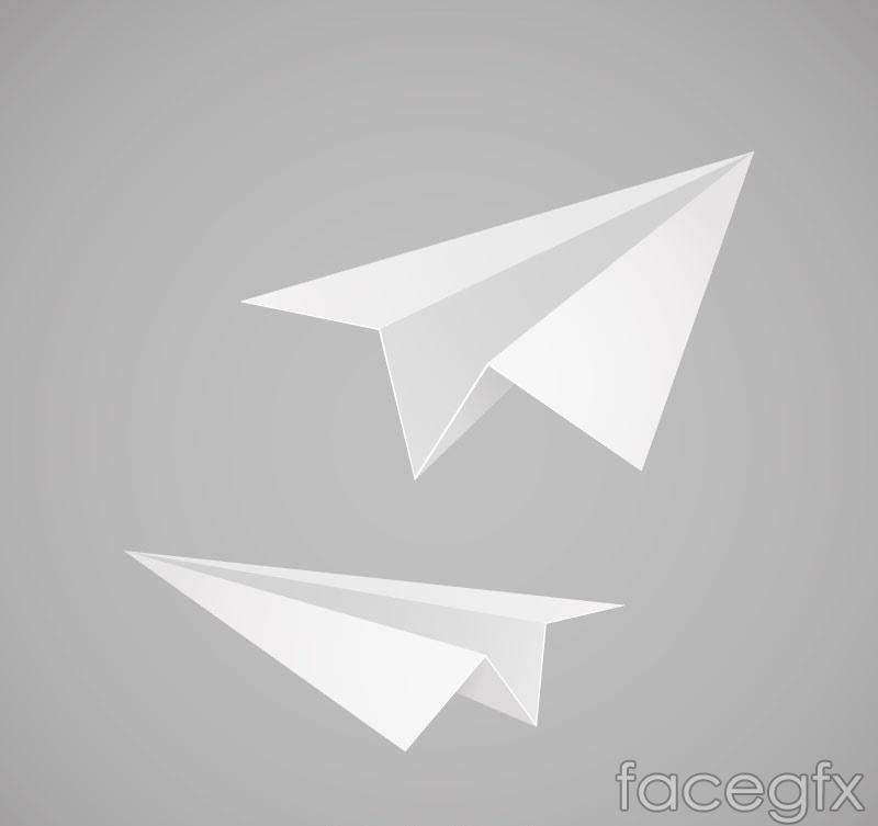 2 white paper plane vector