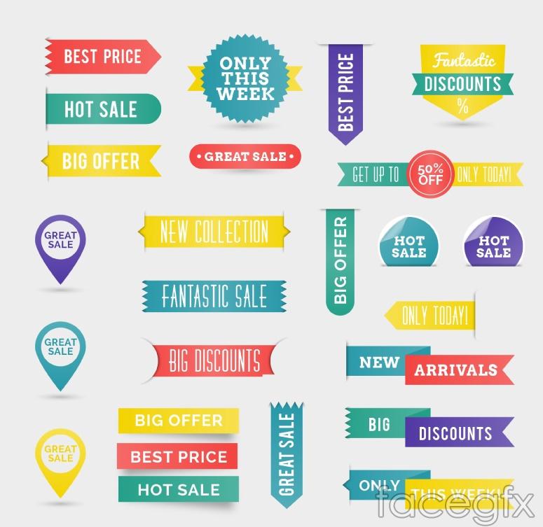 26 color promotional label vector diagrams