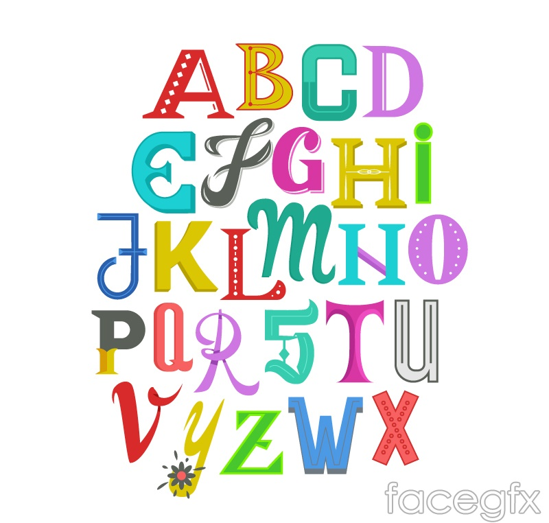 26 colour alphabet art vector graphics