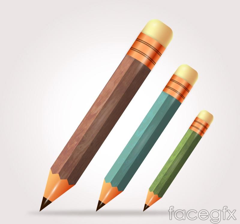 3 cartoon pencils vector