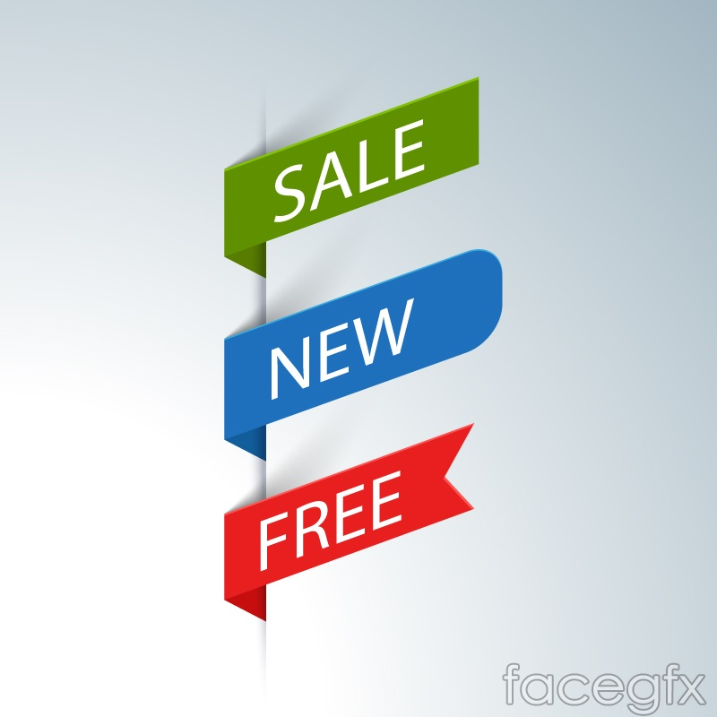 3 color promotional tag vector