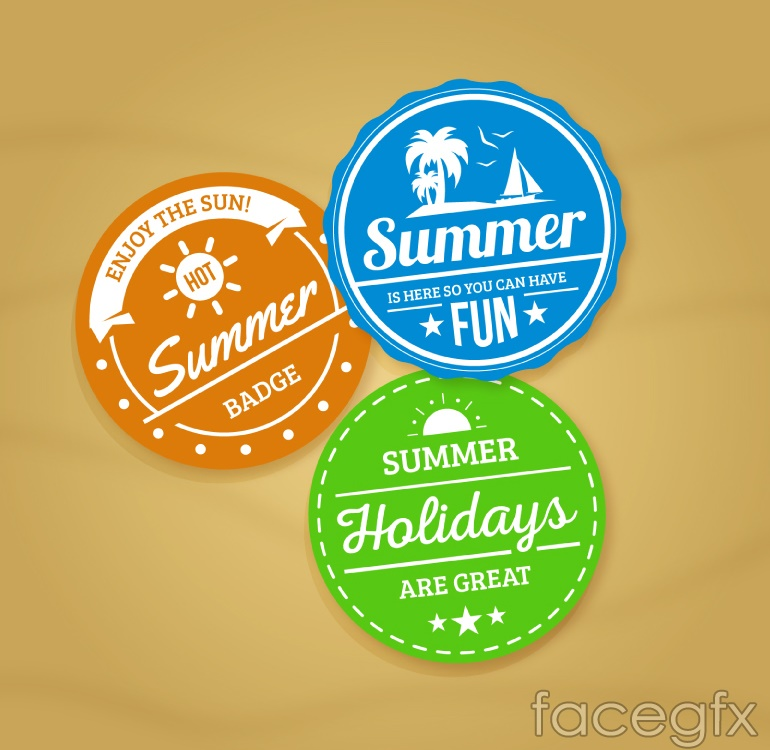 3 color summer holiday tag vector
