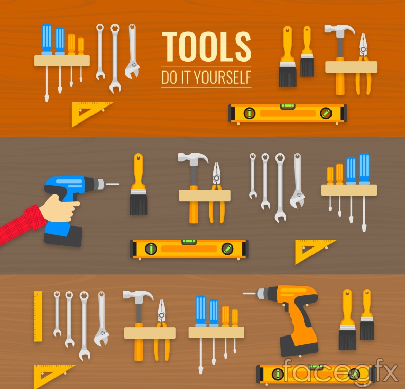 3 sets of household Tools Design vector