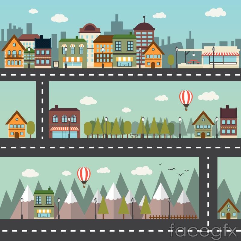 3 urban architectural banner vector diagrams