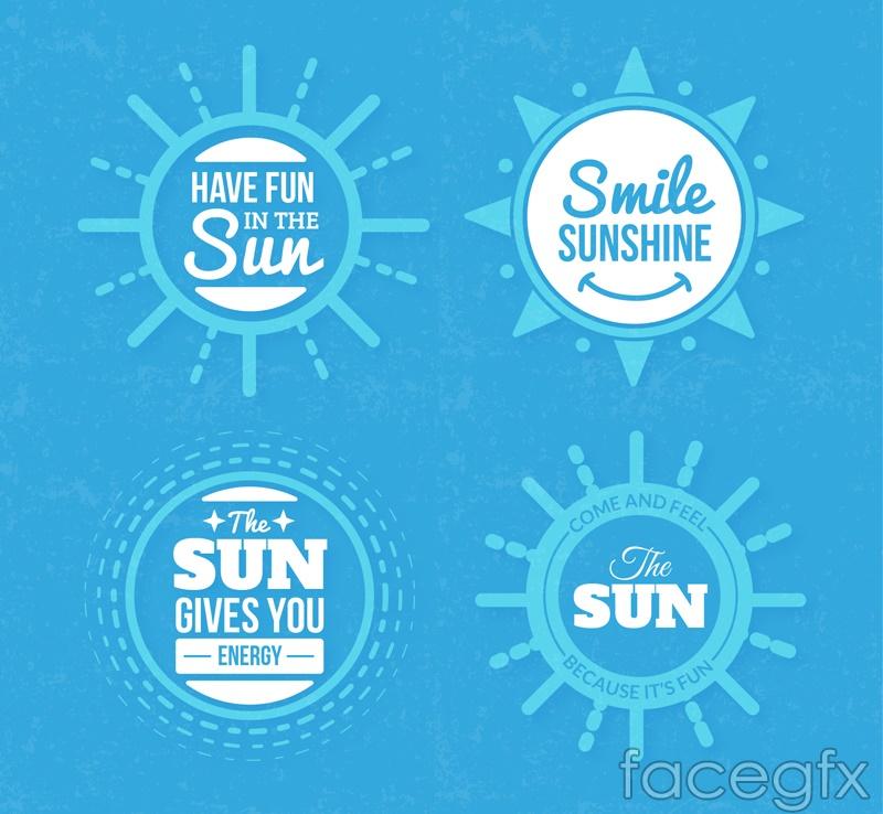 4 Blue Sun labels vector