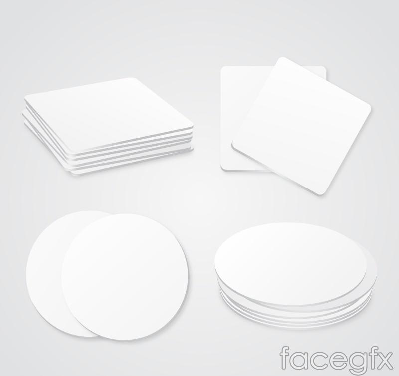 4 white coaster element vector