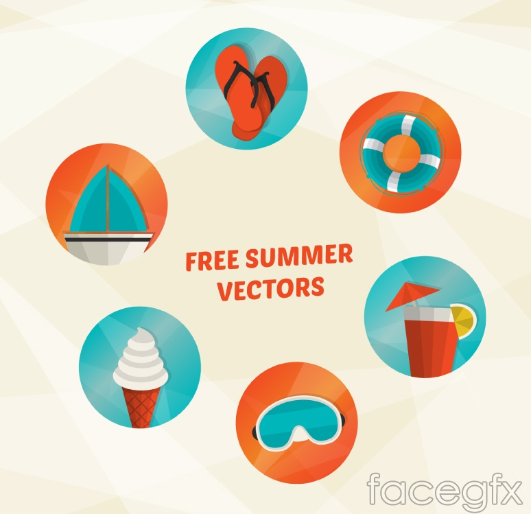 6 summer holiday icon vector