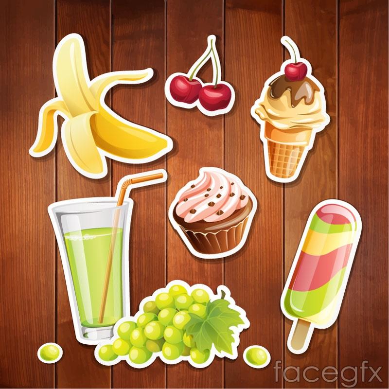 7 delicious food sticker vector